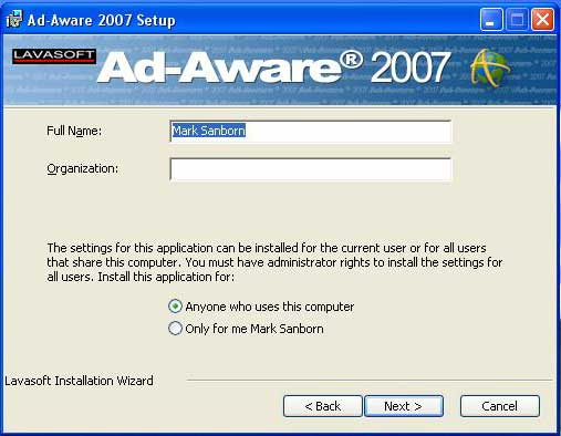 Ad-aware user