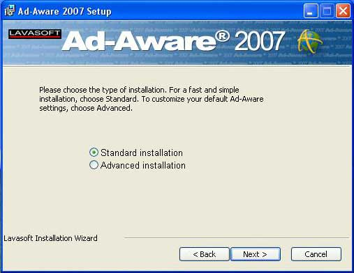 Ad-aware install type