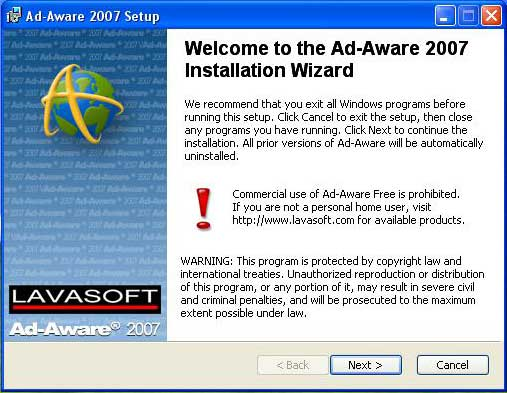 Ad-aware first screen